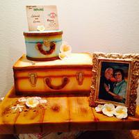 Hawaiian travel-themed 50th wedding anniversary cake