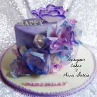 Rice paper flowers and Marble Fondant Cake