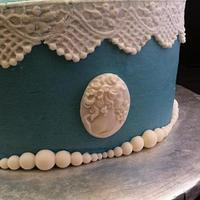 Blue and White Cameo Mother's day cake
