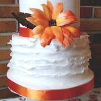 Orange flower Wedding cake