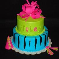 Bright Cheerleader Zebra Cake