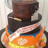 Home Depot/Chinese Food themed 25th anniversary cake