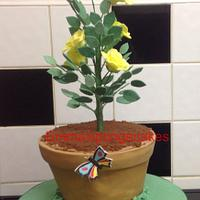 Potted rose bush cake