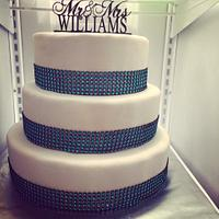 Turquoise bling wedding cake