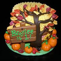 """Fall/Autumn"" Themed Cake for 1st Birthday"