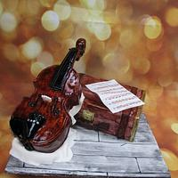 Violin & Vintage suitcase cake