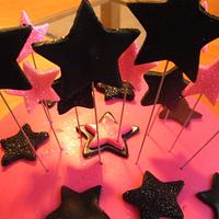 Hot Pink/Black Star Cake by SugarCo