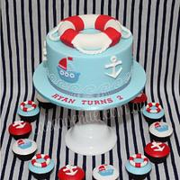 Nautical Themed Cake & Cupcakes