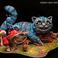3D-cake. Cheshire cat. Alice's adventures in wonderland.