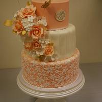 Peach Anniversary cake