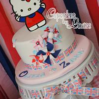 Hello Kitty Jubilee theme pinwheel cake (with acrylic topper)