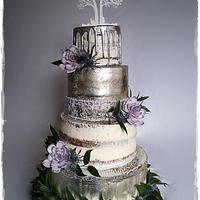 Cream and metallic wedding cake