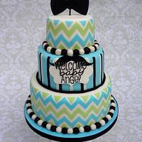 Little Man Chevron Bowtie Cake