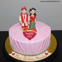 Customized cake for newly married indian bride n groom