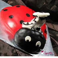 One Year Old Lady Bug Cake