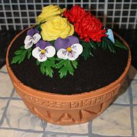 Terracotta Flower Pot Cake with handmade Roses, Pansies and Chrysanthemums