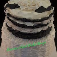 Black & White Ruffle Cake
