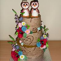 Wedding cake with owls