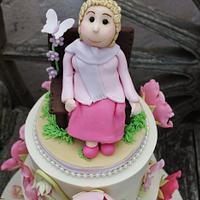 Jean's 80th peonie / gardenBirthday cake
