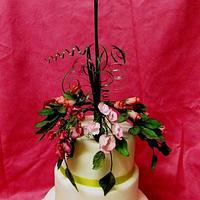 Mum's 70th Birthday Cake with Sugarcraft Flowers (Roses & Sweetpeas)