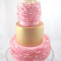 Pink and Gold Ruffled Birthday Cake