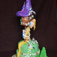 Repunzel theme birthday cake