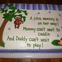 Little monkey baby shower cake