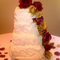Four Tier Square Wedding Cake with Cascading Flowers