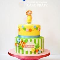 Sweet bunting and pinwheel Birthday cake
