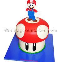 3D Mario on mushroom cake