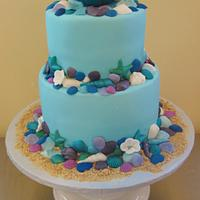 Shells and Mermaid Birthday Cake
