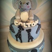 Blue Gray Safari Baby Shower Cake