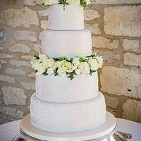 Champagne lace wedding cake