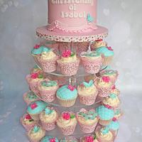 Baptism cupcake tower