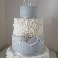 Dove Grey Ruffle Wedding Cake