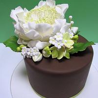 Open Peony Cake with Filler Flowers