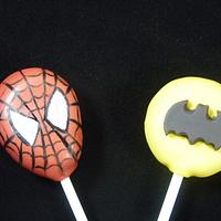Spiderman and Batman Cake Pops