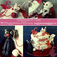 Playful kitty cake