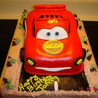 Lightning McQueen Birthday Cake by Dana