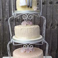 Rustic ombré buttercream wedding cake