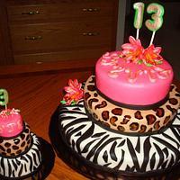 Zebra, Leopard & Lily cake