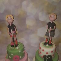 Brother and sister hockey cakes