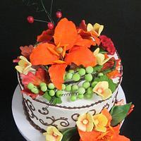 Fall themed wedding cupcake tree topper