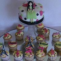 Paris themed birthday cake and cupcakes by fusion cakes srilanka