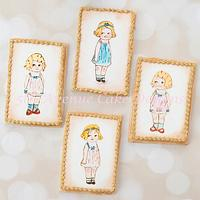 Painted Paper Doll Cookies