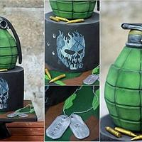 3D grenade and hand painted skull