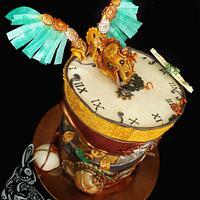Steampunk topsy turvy cake