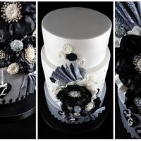 Stirling, Black and White Engagement Cake by Lisa-Jane Fudge