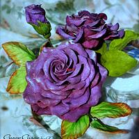Anniversary Cake with Purple Roses