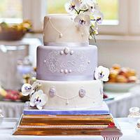 Romantic Wedding Cake with Cameo and Moth Orchid